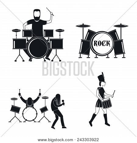 Drummer Drum Rock Musician Icons Set. Simple Illustration Of 4 Drummer Drum Rock Musician Vector Ico