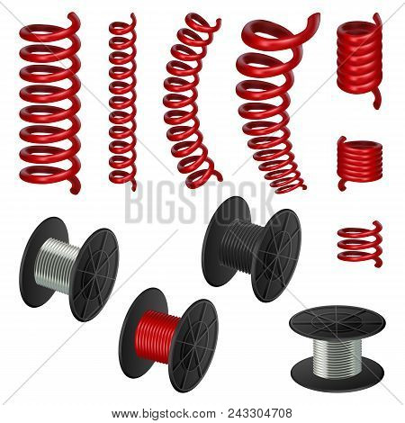 Coil Spring Flexible Cable Mockup Set. Realistic Illustration Of 11 Coil Spring Flexible Cable Mocku