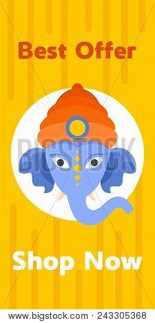 Shopping Ganesh Chaturthi Banner Vertical. Flat Illustration Of Vector Shopping Ganesh Chaturthi Ban