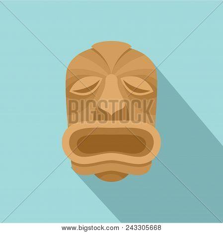 Wood Made Tiki Icon. Flat Illustration Of Wood Made Tiki Vector Icon For Web Design