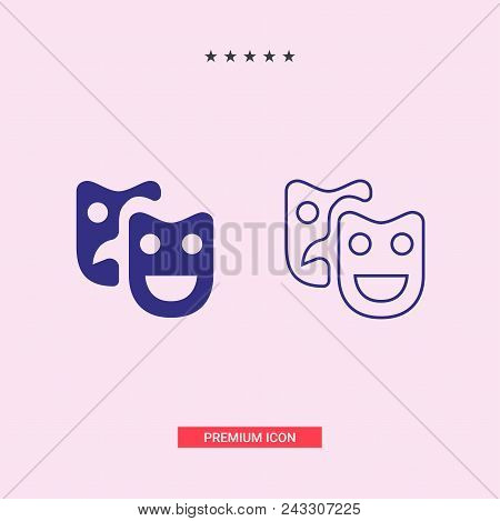 Theatrical masks vector icon on white background. Theatrical masks modern icon for graphic and web design. Theatrical masks icon sign for logo, website, app, ui. Theatrical masks flat vector icon illustration, EPS10 poster