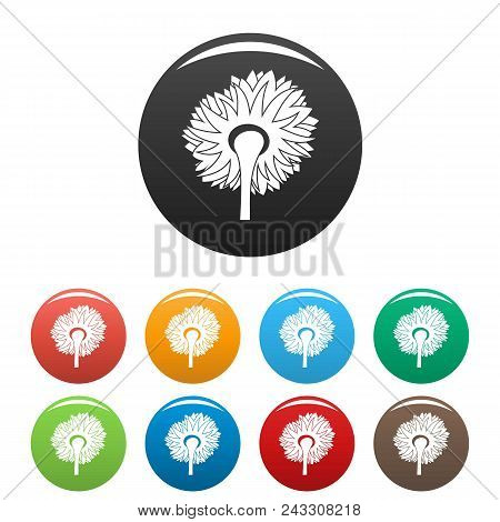 Turning Sunflower Icon. Simple Illustration Of Turning Sunflower Vector Icons Set Color Isolated On
