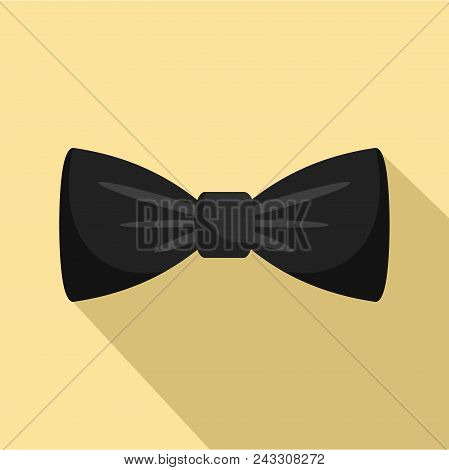 Black Bow Tie Icon. Flat Illustration Of Black Bow Tie Vector Icon For Web Design