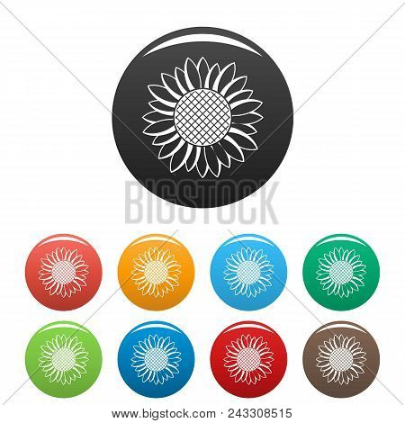 Nice Sunflower Icon. Simple Illustration Of Nice Sunflower Vector Icons Set Color Isolated On White
