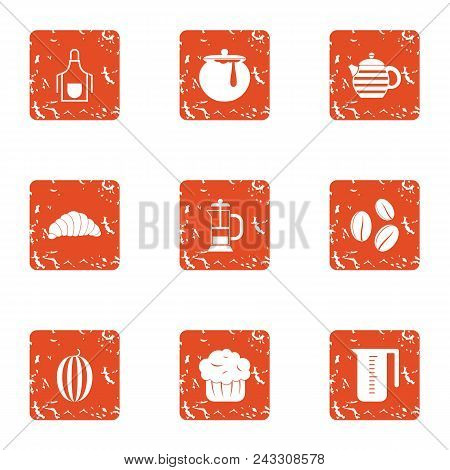 Refreshment Icons Set. Grunge Set Of 9 Refreshment Vector Icons For Web Isolated On White Background