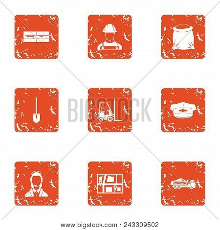Purchase Of Material Icons Set. Grunge Set Of 9 Purchase Of Material Vector Icons For Web Isolated O