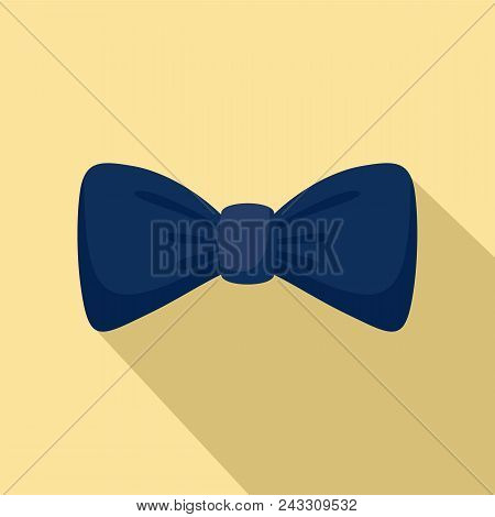 Dark Blue Bow Tie Icon. Flat Illustration Of Dark Blue Bow Tie Vector Icon For Web Design