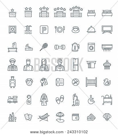 Hotel Services Vector Outline Icons Set. Simple Linear Pictograms. Isolated On White. Thin Line Symb