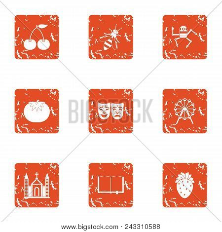 Psyche Icons Set. Grunge Set Of 9 Psyche Vector Icons For Web Isolated On White Background