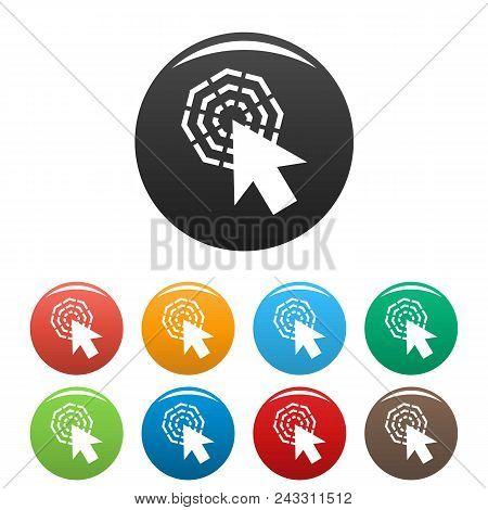 Arrow Cursor Click Icon. Simple Illustration Of Arrow Cursor Click Vector Icons Set Color Isolated O
