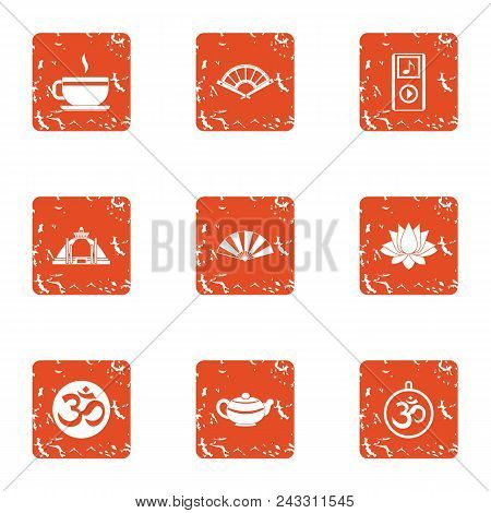 Last Supper Icons Set. Grunge Set Of 9 Last Supper Vector Icons For Web Isolated On White Background