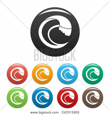 Wave Aqua Icon. Simple Illustration Of Wave Aqua Vector Icons Set Color Isolated On White