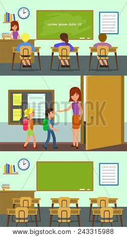 Classroom School Study Banner Horizontal Concept Set. Flat Illustration Of 3 Classroom School Study