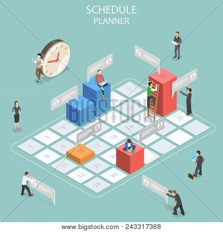 Flat isometric vector concept of business planning, schedule, meeting appointment, agenda, important date poster