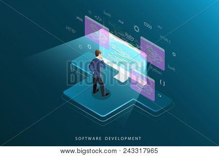 Flat Isometric Vector Concept Of Software Development, Programming, Coding.