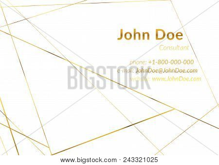 Business Card Layout With Gold Geometric Wireframe Pattern. White Chic Frame And Text. Art Deco Poly