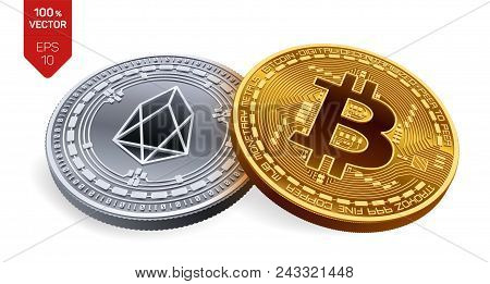 Bitcoin And Eos. 3d Isometric Physical Coins. Digital Currency. Cryptocurrency. Silver Coin With Eos