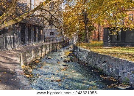Rapid Small Brook In Old City Of Kuldiga, Latvia, Europe