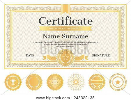 Certificate Sample With Place For Name And Surname, Date And Signature, Template Of Certificate With