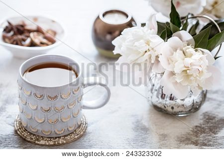 Still Life With Interior Details And A Cup Of Tea