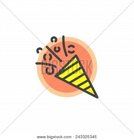 Flapper With Confetti Filled Outline Icon, Line Vector Sign, Linear Colorful Pictogram Isolated On W