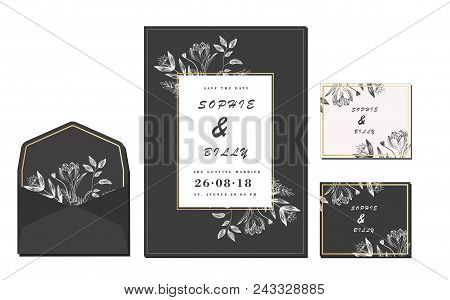 Set Of Card With Flower Rose, Leaves. Wedding Ornament Concept. Floral Magazine, Poster, Invite. Vec