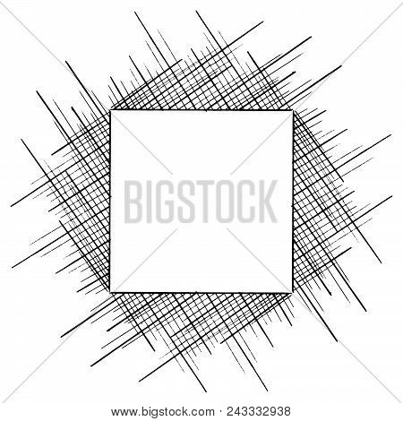 Square Frame Lines. Vector Illustration Of A Square Of Many Lines. Hand Drawn Frame From Geometric L