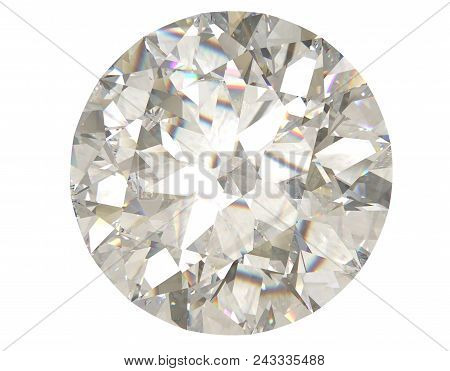 Round Diamond Jewel On White Background 3d Rendering Model. Top View
