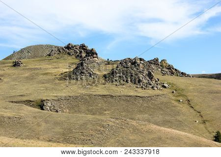 Hills With Big Inexplicable Stone Structures In Suvinian Saxony Castle Near Buryat Village Suvo, Rep