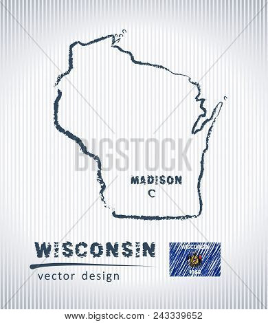 Wisconsin National Vector Drawing Map On White Background