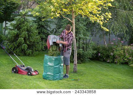 Gardener Empty Mower Basket Full Of Cuttings Into Plastic Sack In Garden. Lawn Maintenance Concept