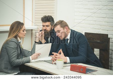 Business Consulting Concept. Business Partners Or Businessmen At Meeting, Office Background. Busines