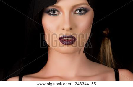 Fashion Model With Makeup Of Mysterious Girl. Religion And Death Concept. Makeup Look And Skincare S