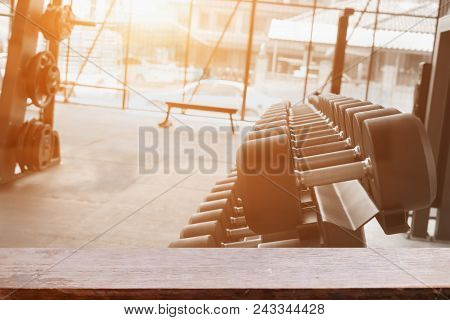 Empty Top Of Fitness Gym And Wooden Deck Tabletop.for Product Display