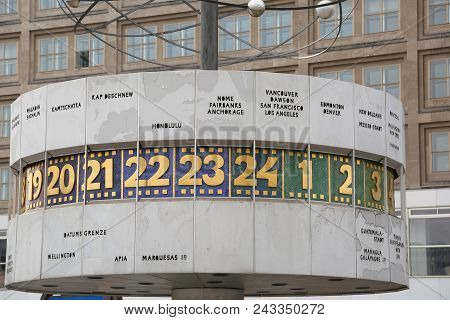Berlin, Germany - August 18, 2017: Urania World Clock Also Called Urania-weltzeituhr In German Is A