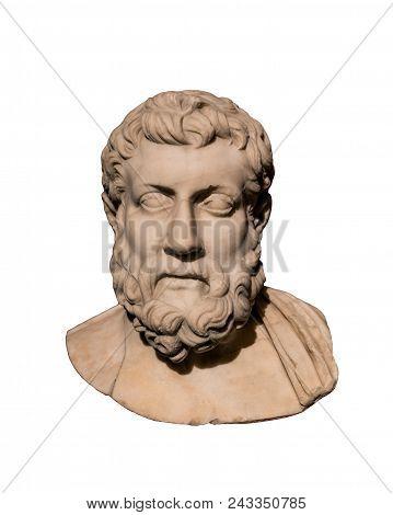 Roman Bust Of Greek Philosopher Metrodorus Of Lampsacus (331-278 Bc).