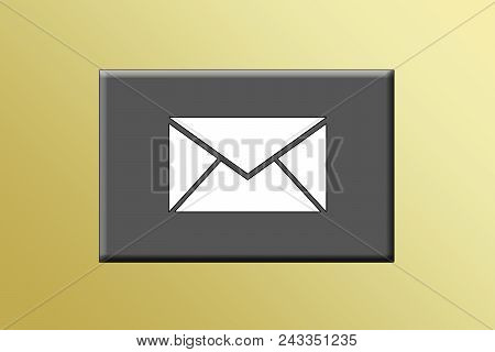 A Closed Envelop With A Box Surrounding With A Gold Gradient.e-mail Or Electronic Mail Symbol.