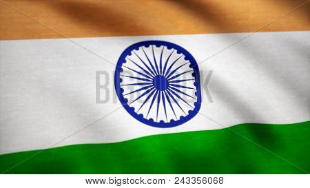 Realistic Cotton Flag Of India As A Background. India Flag Waving In The Wind. Background With Rough