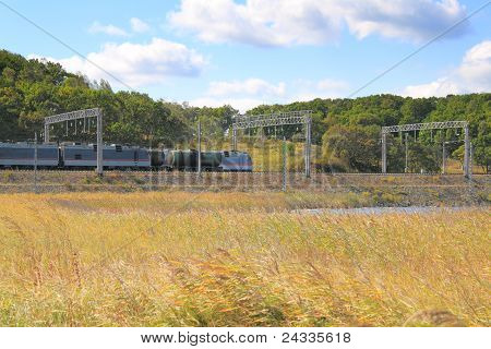 Locomotive On  Railway