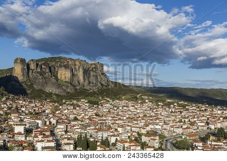 View Of Meteora Rock Formation And City Of Kalabaka In Central Greece