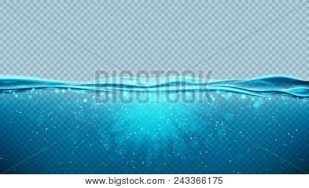 Transparent Underwater Blue Ocean Background. Vector Illustration With Deep Underwater Sea Scene. Ba