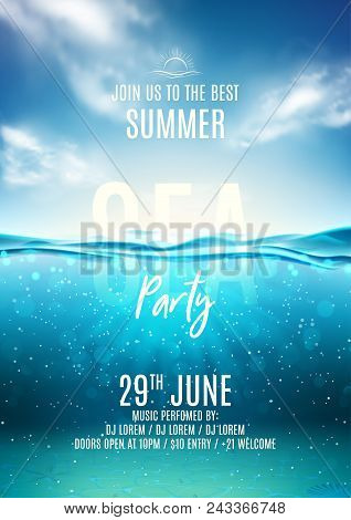 Summer Sea Party Poster Template. Vector Illustration With Deep Underwater Ocean Scene. Background W