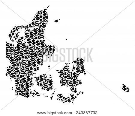 Denmark Map Mosaic Of Dollar Symbols And Circle Spots In Different Sizes. Abstract Vector Monetary A