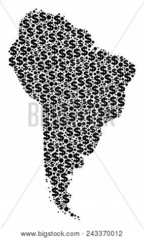 South America Map Collage Of Dollar Symbols And Round Points In Variable Sizes. Abstract Vector Weal