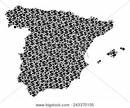 Spain Map Composition Of Dollar Signs And Round Spots In Variable Sizes. Abstract Vector Cash And Gd