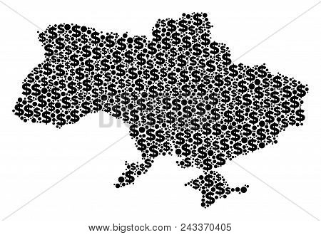 Ukraine Map With Crimea Collage Of Dollars And Spheric Dots In Various Sizes. Abstract Vector Busine