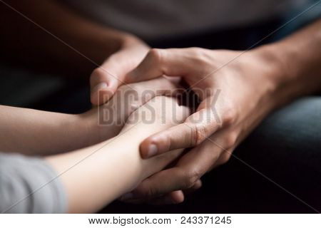 Male Hands Holding Female, Caring Loving Understanding Man Showing Comfort And Empathy, Giving Psych