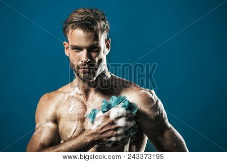 Muscle Soapy Sexy Naked Muscular Bearded Hipster Take Shower. Healthy Man Lifestyle, Well Being - At