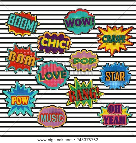 Comic Patch Sound Effects In Pop Art Vector Style. Sound Bubble Speech With Word And Comic Cartoon E