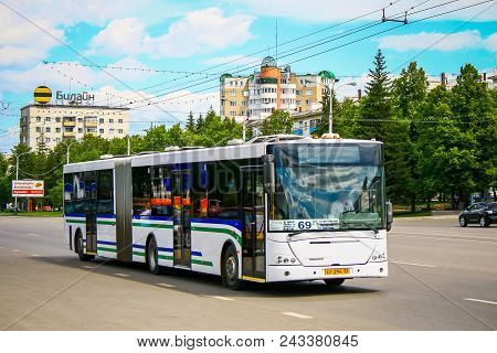 Ufa, Russia - June 20, 2011: White Articulated City Bus Nefaz 52995 (vdl Transit) In The City Street